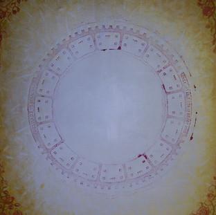 č.256, Zlatá mandala - růže (tisk), 2015, olej na plátně, rozměr plátna 119 x  89 cm, cena obrazu 30 000,-Kč