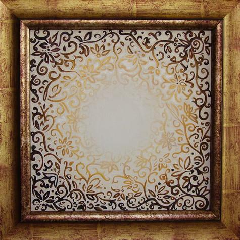 č.264,Zlatohnědá mandala 3, 2015, olej na plátně, rozměr plátna 40 x 40 cm, cena 15 000,-kč