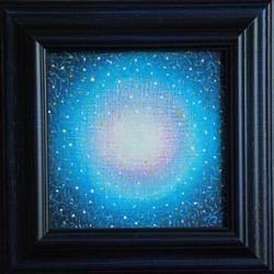 č.316,Tajemná obloha,2018, olej na plátně, rozměr plátna 18 x 18 cm. Prodej v Divadelní galerii s.r.o, Mariánské nám.123, Uherské Hradiště