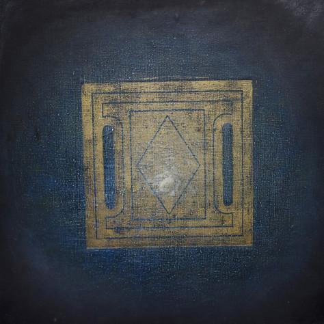 č.325/3 Mandala a tisk z cyklu Příběh dvanácti obrazů z Pražského hradu . 17.7. 2018, olej na plátně, rozměr plátna 100 x 100 cm, cena obrazu 100 000,- Kč