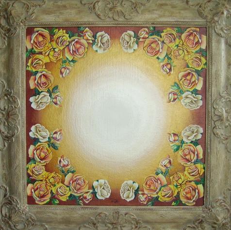 č.288, Rosa-žluté růže, mandala, 2017, olej na plátně, rozměr plátna 50 x 50 cm, cena 25 000,- Kč