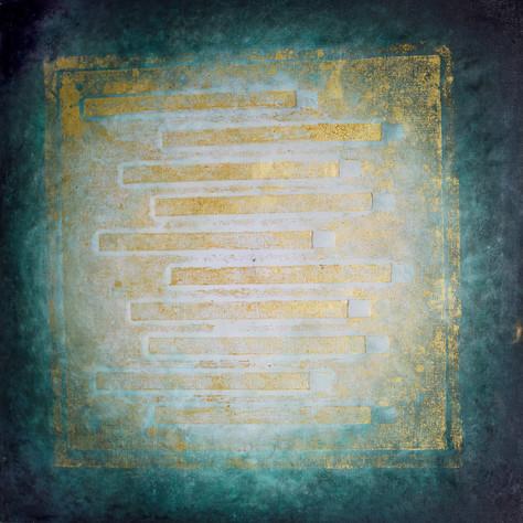 č.331/9, Mandala a tisk z cyklu příběh dvanácti obrazů z Pražského hradu, olej na plátně, rozměr plátna 100 x 100 cm, cena plátna 100 000,- Kč