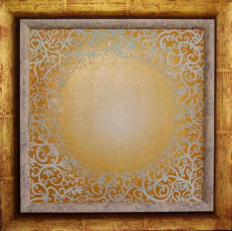 č.255,Orientální mandala 2, olej na plátně, rozměr plátna 42 x 42 cm, cena 15 000,- Kč