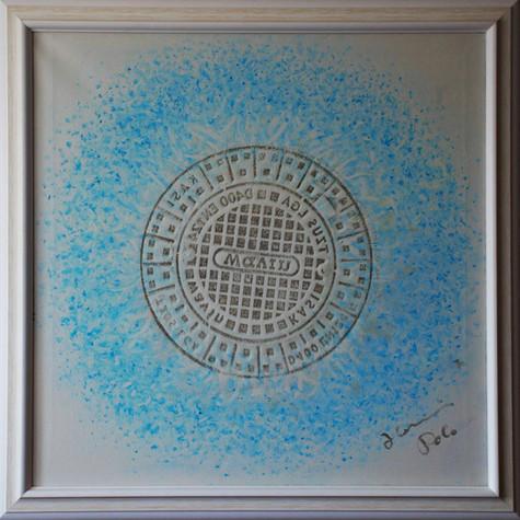 č.292, Mandala, tisk, 2017, olej na plátně, rozměr plátna 90 x 90 cm, cena obrazu 15 000,- kč