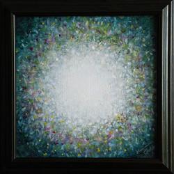 č.309, Rozkvetlá louka II, 2018, olej na plátně, rozměr plátna 30 x 30 cm, cena obrazu 3 500,-Kč