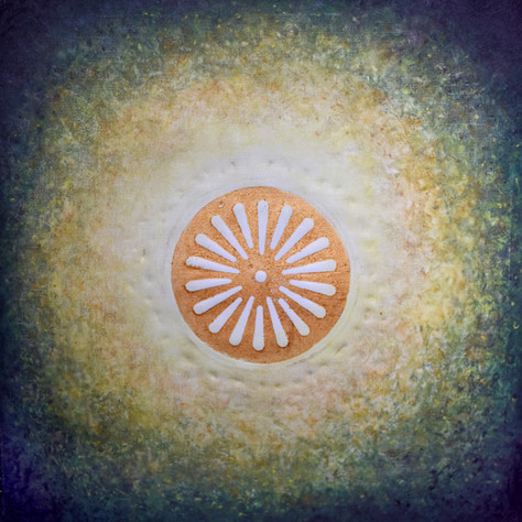 č.334/12, Mandala a tisk z cyklu Příběh dvanácti obrazů z Pražského hradu, 17.7. 2018, olej na plátně, rozměr plátna 100 x 100 cm, cena obrazu 100 000,- Kč