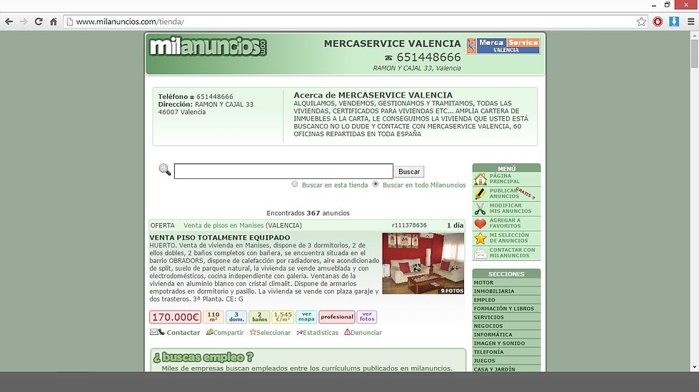 IMAGEN DE UNA TIENDA VIRTUAL DE MERCA SERVICE EN EL PORTAL MILANUNCIOS.COM