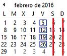Clases programadas para Febrero 2016