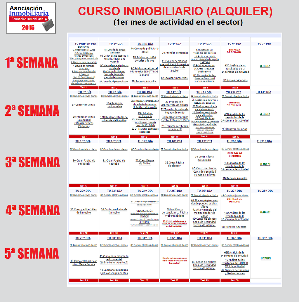 Calendario del Curso Inmobiliario de Asociacion Inmobiliaria
