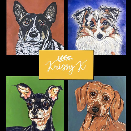"Custom Pet Portrait on 10"" square canvas"