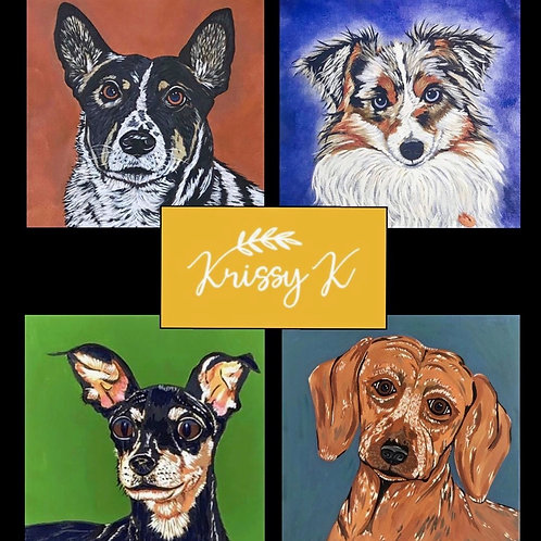 Custom Pet Portrait on 12' Canvas