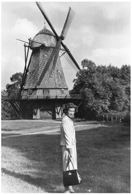 Mary Zimbalist : Photographs : Mary in front of windmill