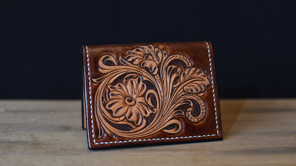 Deluxe Horizontal Card Wallet (Floral Tooled)