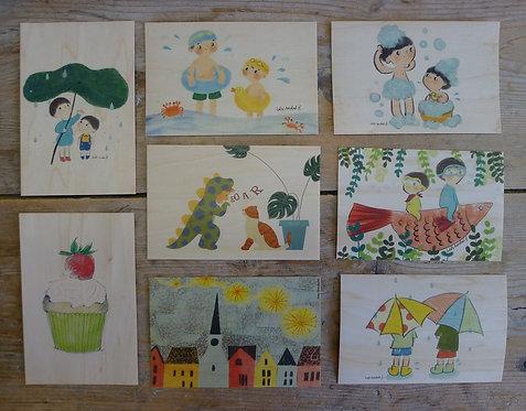 carte postale en bois - les enfants
