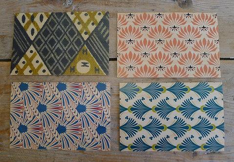 carte postale en bois - tissu