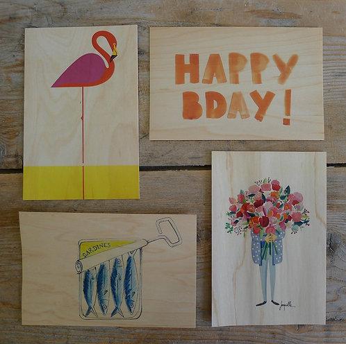carte postale en bois - quotidien