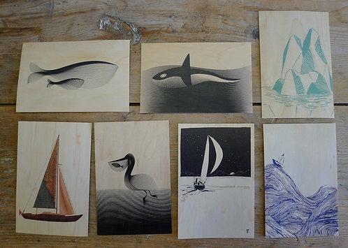 carte postale en bois - marin