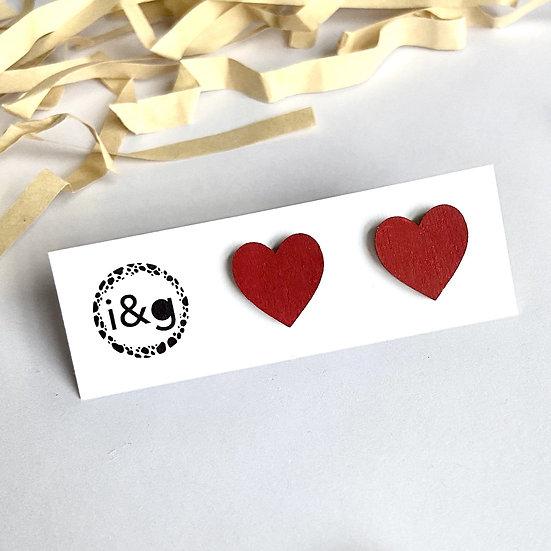 Red Mini Heart Studs