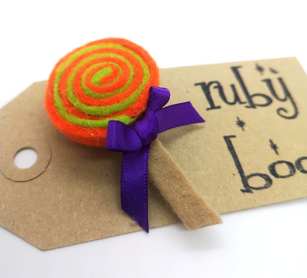 Swirly Lollipop Brooch - Orange & Green