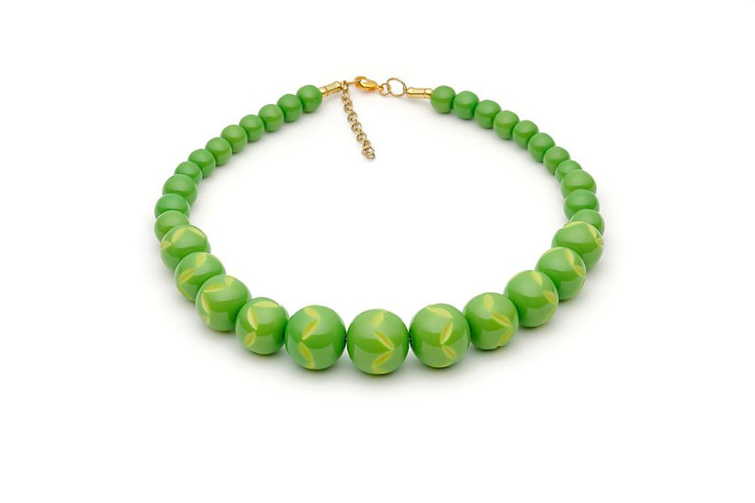 Lime Carved Bead Necklace
