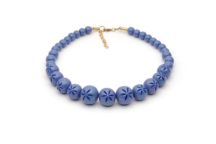 Forget Me Not Carved Bead Necklace