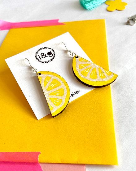 Lemon Slices Wooden Earrings