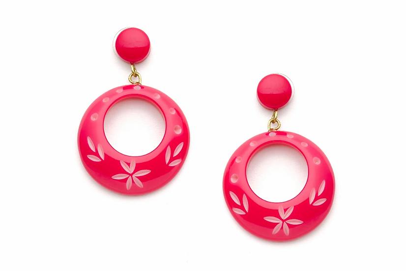 Raspberry Carved Drop Hoop Earrings
