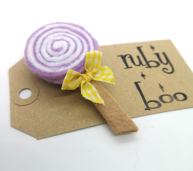 Swirly Lollipop Brooch - Lilac & White