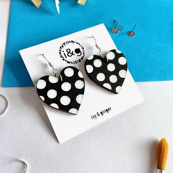Black & White Polka Heart Earrings