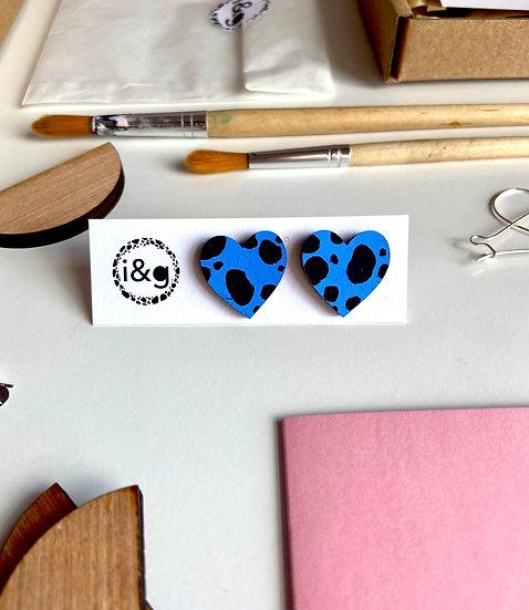 Blue & Black Dalmation Heart Stud Earrings