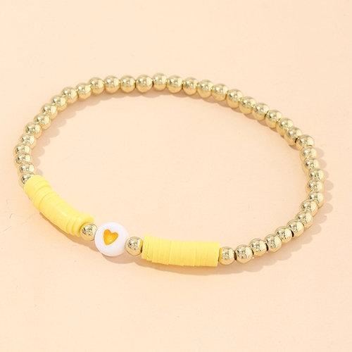 Gold & Yellow Beaded Resin Heart Bracelet