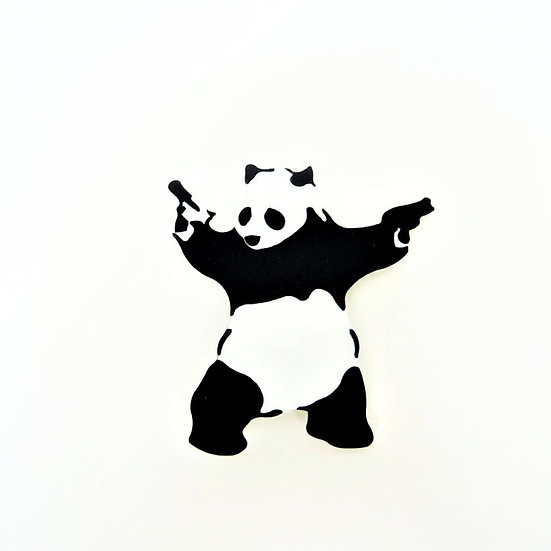 Banksy-style Panda with Guns Mini Brooch
