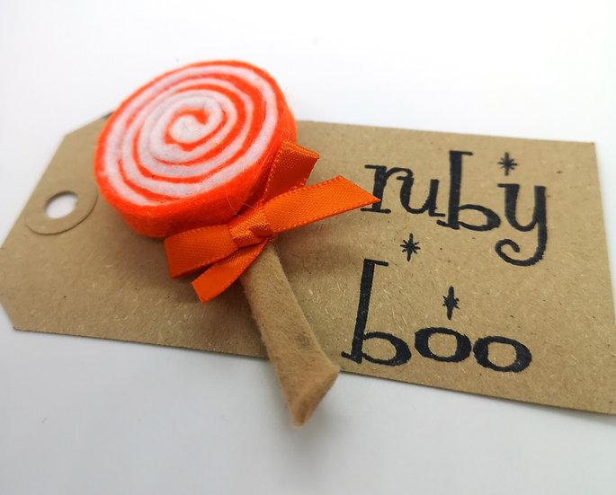 Swirly Lollipop Brooch - Orange & White