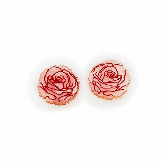 Roses in Bloom Stud Earrings - Pink