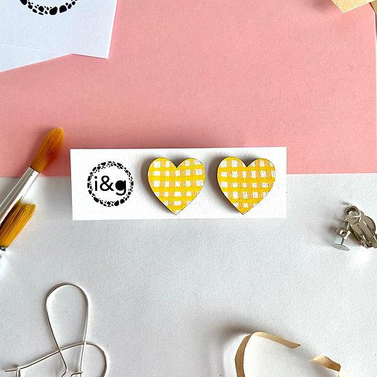 Yellow Gingham Heart Stud Earrings