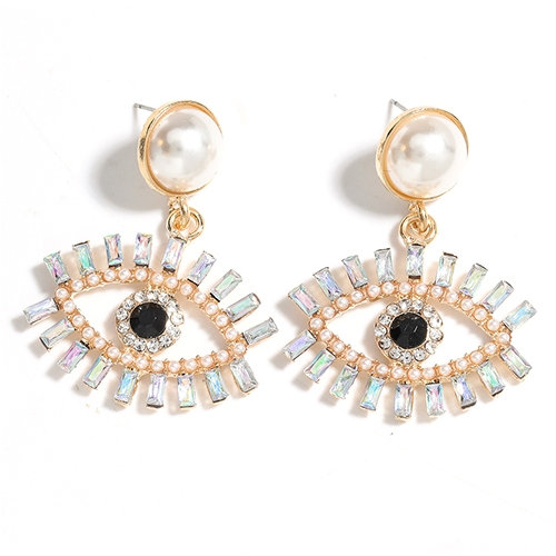 Marli Swarovski Clear Crystal Eyelash & Pearl Accent Earring