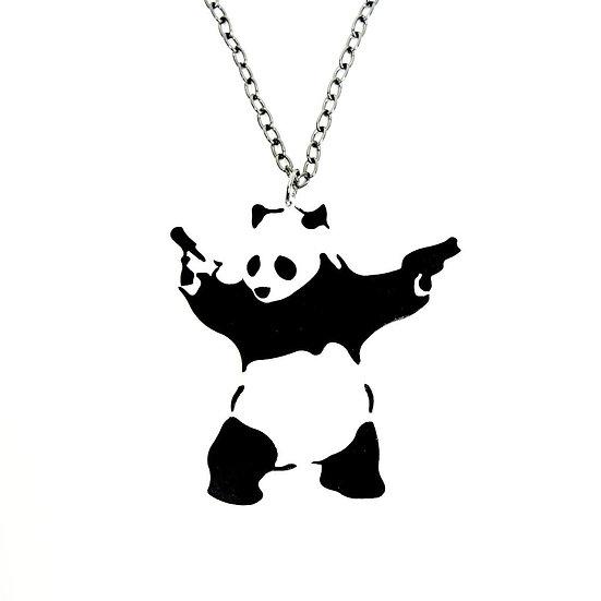 Banksy-style Panda with Guns Mini Necklace