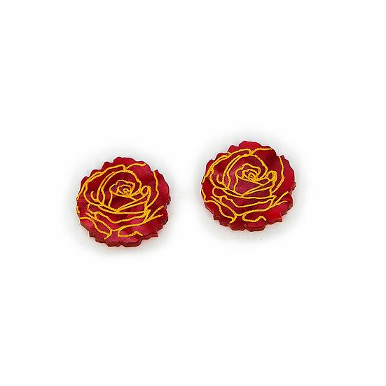 Roses in Bloom Stud Earrings - Red