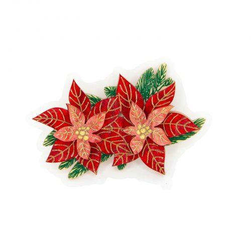 Poinsettia Double Brooch