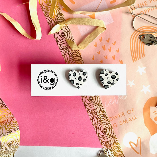 Mini White and Grey Leopard Earrings