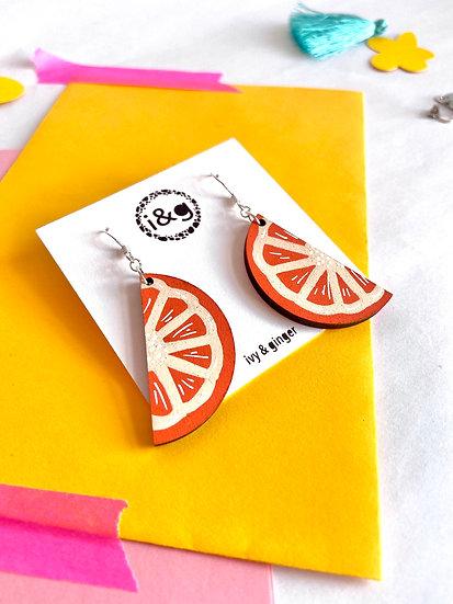 Orange Slices Wooden Earrings