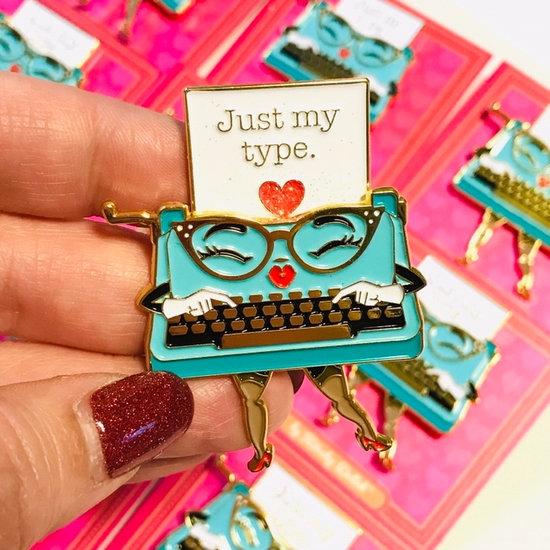 Just My Type sliding enamel pin