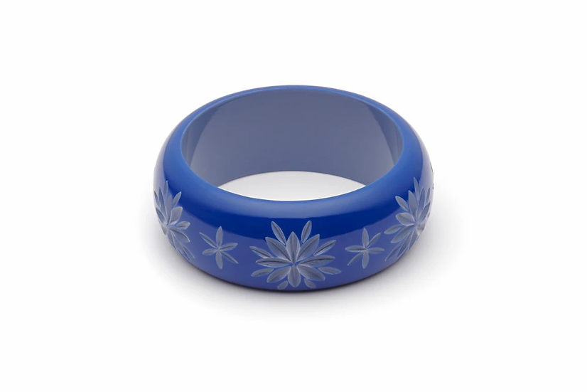 Cornflower Carved Wide Bangle