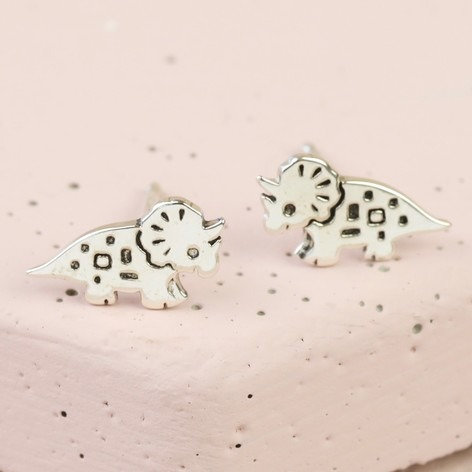 Sterling Silver Triceratops Dino Studs