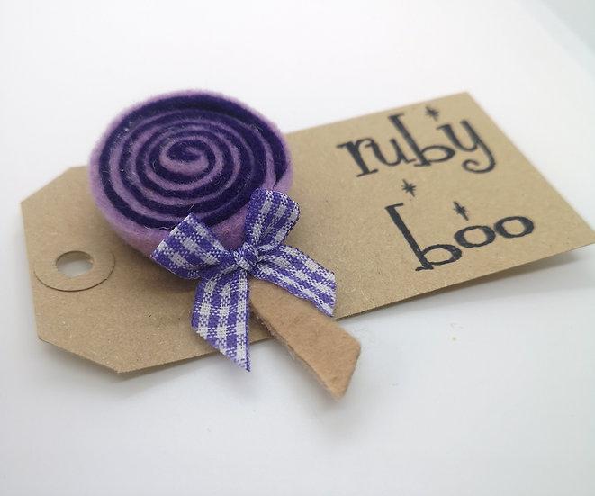 Swirly Lollipop Brooch - Lilac
