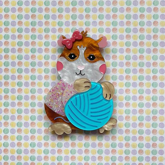 Peggy the Guinea Pig brooch