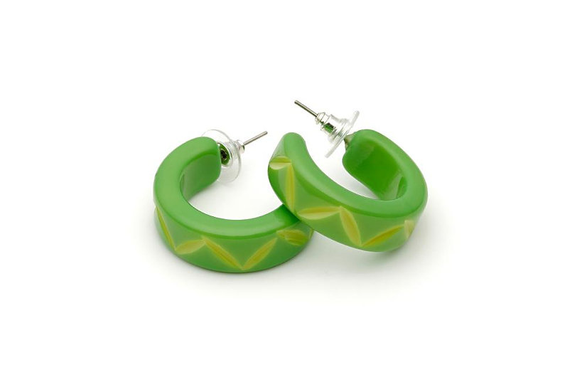 Lime Carved Hoop Earrings