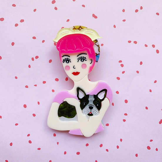 Fab Fifi and Frenchie Brooch (Pink Hair)