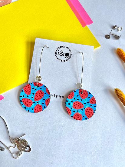 Blue Strawberry Earrings