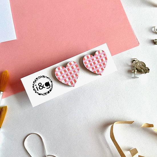 Pink Gingham Midi Heart Stud Earrings